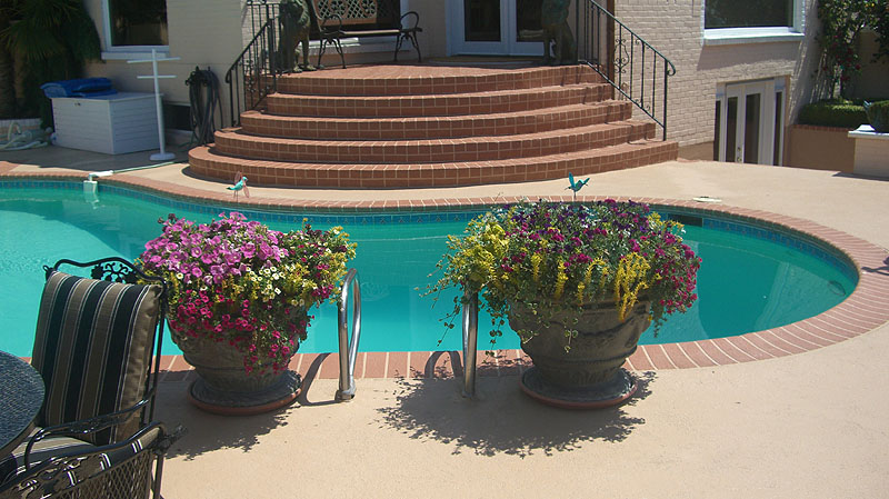 Concrete Pool Deck Ideas rancho santa margarita pool deck acrylic stain like the coping as well important to Seattle Concrete Pool Deckjpg